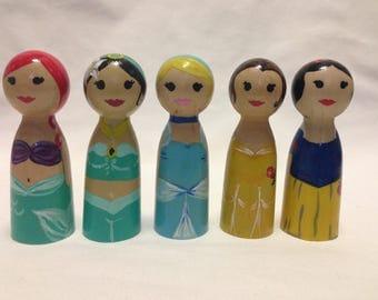 Set of 5 Princess peg dolls--Wooden Peg dolls