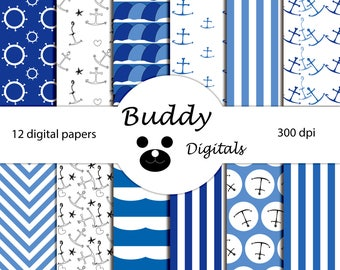 80% OFF Boys Digital Paper - Nautical Pattern - Sailor Paper