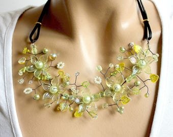 Green fantasy necklace branch floral.