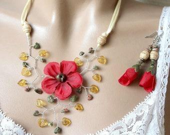 Red geranium flower adornment.