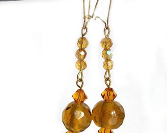 Earrings Topaz color glass and Crystal beads