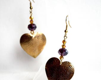 Earrings romantic heart of gold metal