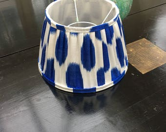 "Blue white silk ikat lampshade 12"""