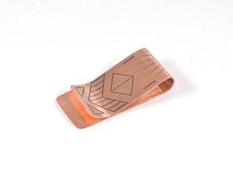 Minimalist Wallet, Solid Copper, Money Clips for Men, Modern Geometric Design, Metal Wallet, Slim Wallet, Valentines Day Gift for Him