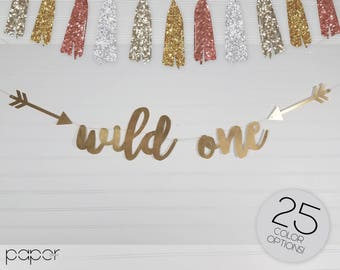 Tribal Arrow Wild One Banner Garland Sign, First Birthday Party, Baby Shower, Where the Wild Things Are, Boho Birthday