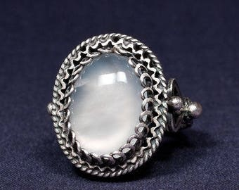 Silver ring filigree, semi-precious stone-8g