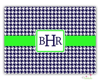 Navy/Lime Green Houndstooth Glass Cutting Board - Small