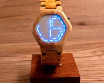 Bamboozle Watch - Bamboo Hexagonal Watch with Unique Hidden Time face