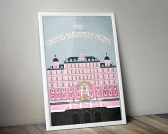 The Grand Budapest Hotel Movie Poster, Minimalist Film Print, The Grand Budapest Hotel Film Poster, Wes Anderson Film Art Poster
