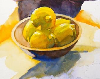 Lemons in wooden bowl, painting
