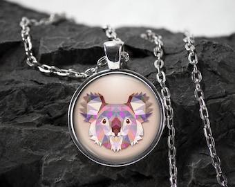 Koala bear Glass Pendant koala necklace koala jewelry koala gift photo pendant art pendant photo jewelry art jewelry glass jewelry
