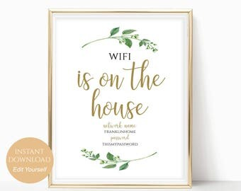 WIFI Password Sign WiFi is on the House Sign Wifi Sign Wifi Password Printable Internet Sign PDF Instant Download DIY 8x10, 5x7, 4x6 Jasmine