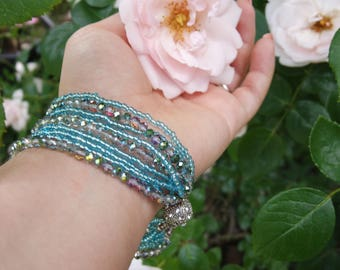 Blue Teal and Silver Non-Stretchable; Magnetic; Glass Beaded Bracelet; Handmade