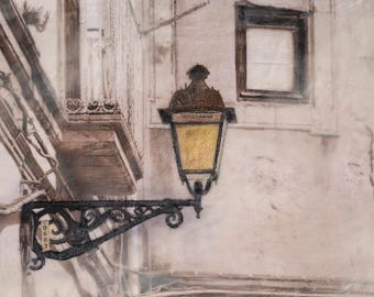 Encaustic Wax Art - Sicilian Lampost