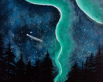 Emerald Dreams-Acrylic Night Sky Painting-20x16