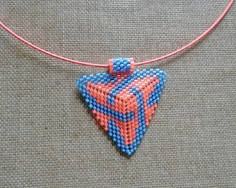 Necklace pearls Miyuki Native American navajo huichol pink and blue. Crew neck woven peyote