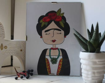 Handmade picture with colored pencils (Frida Khalo)