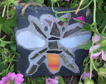 Bee mosaic on slate, rustic art for indoors or outdoors.