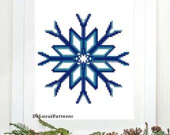 Snowflake cross stitch pattern Christmas decoration Christmas ornaments cross stitch Christmas card DIY Holiday card snowflake wall hanging