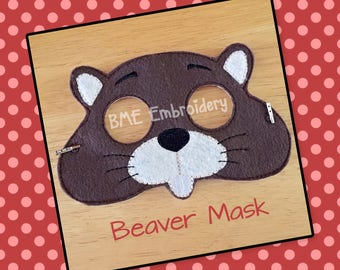 Beaver Felt Mask- Child's Dress Up and Imaginary Play- Birthday Party Favor-Photo Shoot-Pretend Play-Theme Party-Woodland Animal Mask