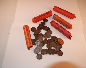 1 Roll of old U.S. Wheat penny pennies mixed dates