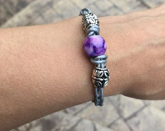 Purple and silver braided leather bracelet
