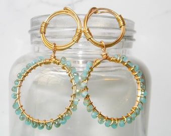 Gold Wire Wrapped Light Blue Beaded Drop Statement Earrings