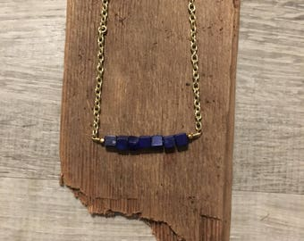 Beaded Choker Necklace - Beaded Bar Necklace - Bar Necklace - Navy Bead Necklace