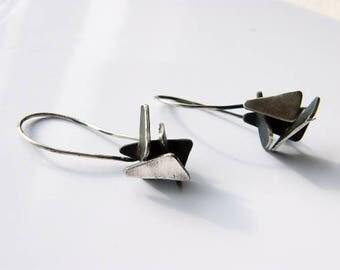 Triangles. geometric dangle earrings, oxidized silver earrings