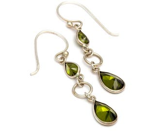 Olivine Green With Green Cubic Zirconia Sterling Silver Earrings