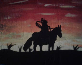Indian horseback at sunset painting