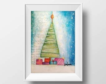 Christmas Tree, Painting Art, Children, Christmas, Italian painter, Aura Raja Semrau, Aura Artworks