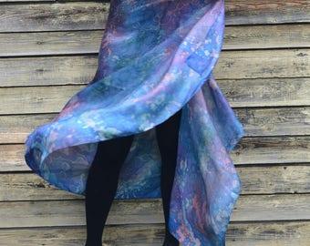 Blue ferns Design Shawl Stole Sarong style Silk Scarf Hand Painted Batik. Excelsior Silk Scarf (195 x 85 cm)