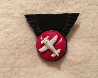 Vintage 1940's Bakelite and Celluloid Airplane Pin