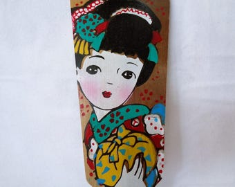 VJ344 : Hagoita paddle , Japanese vintage Hagoita New Year's wooden paddle, Handcrafted in Japan