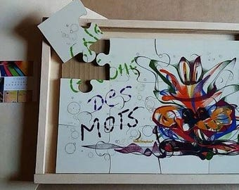 Wooden puzzle with its box - Gnome with the words