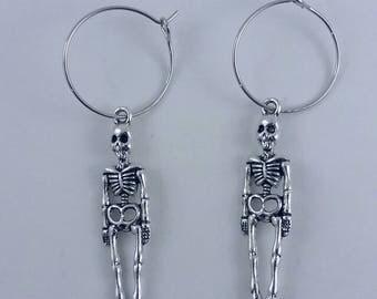 Skeleton earrings, Halloween earrings, scary earrings.