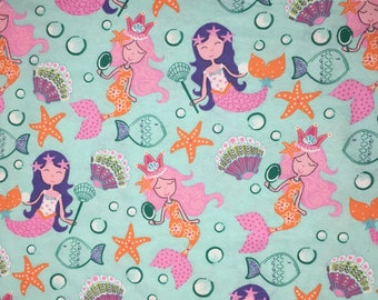mermaid, mermaid,mermaid fabric, siren, under the sea theme, ocean, sea ,flannel, baby, quilting fabric