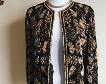 Rare Candlelight Wooden Beaded Jacket