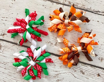 Pigtail clips/ hair accessory / baby girl hair clips/ Christmas hair accessory / fall hair accessory/ holiday gift for girl