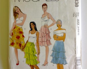 McCalls 4838, Misses Skirt, M4838, uncut sewing pattern, flared, layered tier skirt, shaped hem, size 4 6 8 10, overskirt