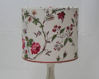 Lampshade Vintage Laura Ashley Fabric Rambling Rose Pattern Gingham Trimmed 20cm Drum