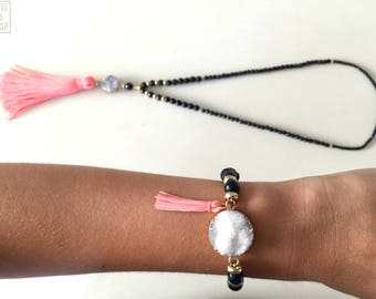 Collar and faceted blue aventurine, white druzy and pink tassel beaded bracelet