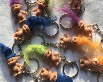 Troll Keyrings/Keychains  | emo cute goth hip kitty cat retro 80s 90s fun kids craft fun fashion childhood