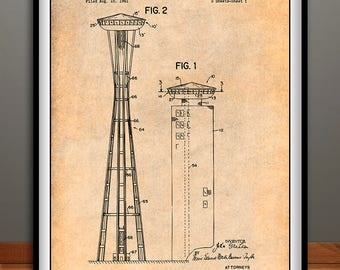 1961 Seattle Space Needle Patent Print, John Graham, Rotating Restaurant, Seattle Art, Architecture Gift, Tower Art, Architect Gift