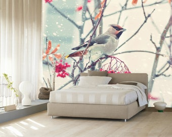 3D Robin On The Tree 631 Views Wallpaper Mural Wall Print Decal Wall Deco  Indoor Wall Part 71