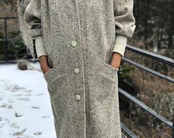 union made oatmeal and grey sweater wool long winter jacket