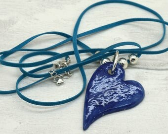 Handmade Lagenlook Style Necklace with Handglazed Heart Pendant