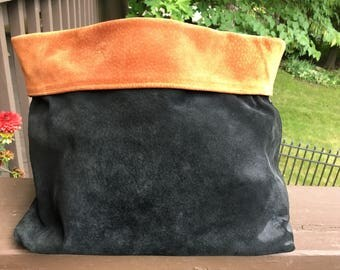 Vintage, authentic, DKNY, black and tan, reversible, suede, leather clutch. Classic, gorgeous and unique!!