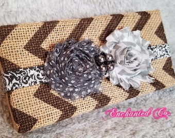 Pearl Double Shabby Flower Headband